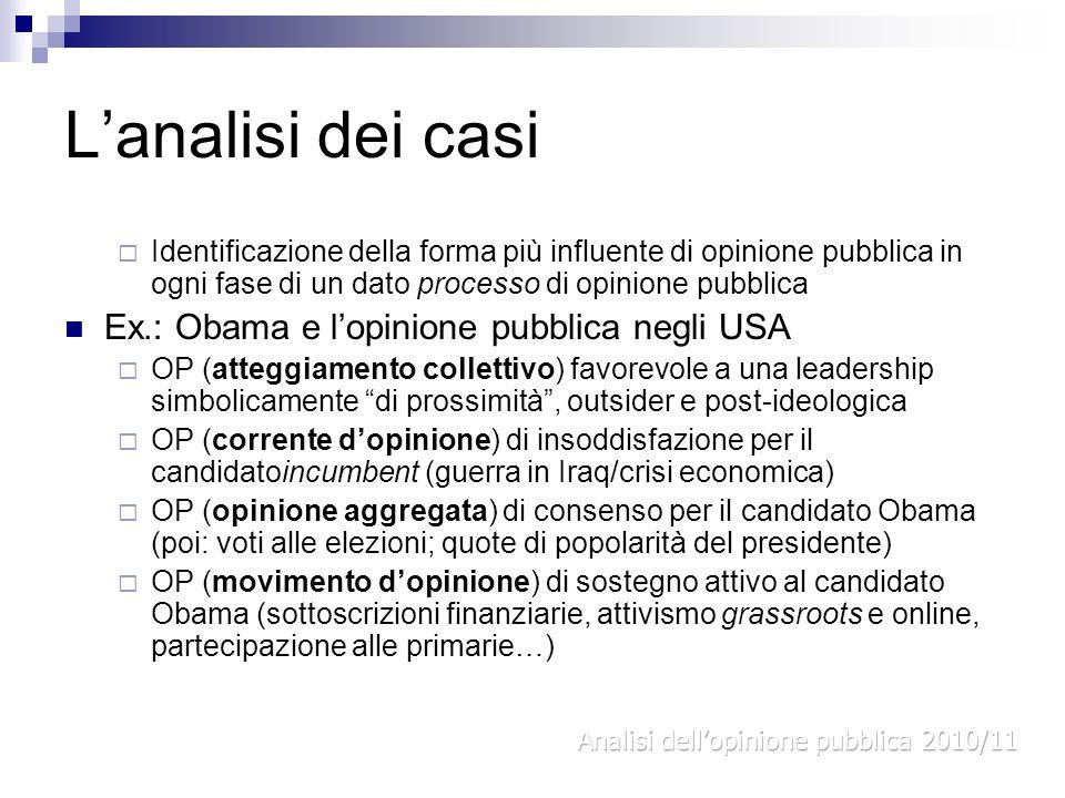 Lanalisi dei casi Identificazione della forma più influente di opinione pubblica in ogni fase di un dato processo di opinione pubblica Ex.: Obama e lo