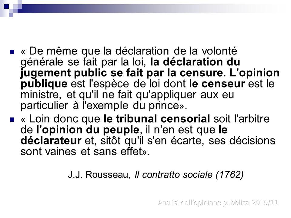 « De même que la déclaration de la volonté générale se fait par la loi, la déclaration du jugement public se fait par la censure. L'opinion publique e