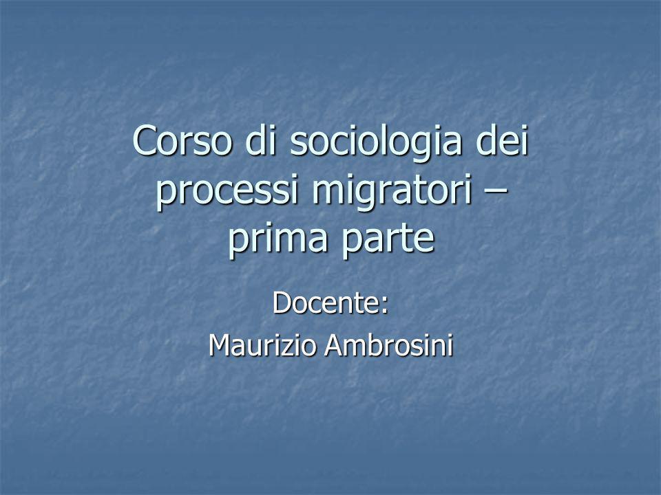 Corso di sociologia dei processi migratori – prima parte Docente: Maurizio Ambrosini