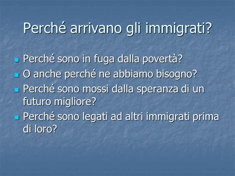 Perché arrivano gli immigrati? Perché sono in fuga dalla povertà? Perché sono in fuga dalla povertà? O anche perché ne abbiamo bisogno? O anche perché