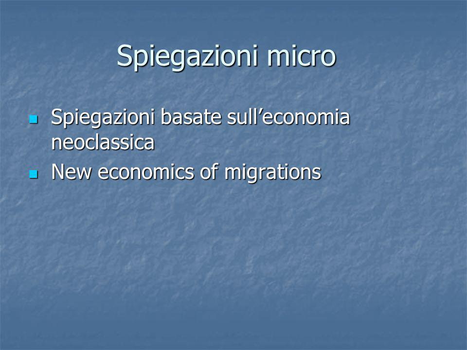 Spiegazioni micro Spiegazioni basate sulleconomia neoclassica Spiegazioni basate sulleconomia neoclassica New economics of migrations New economics of