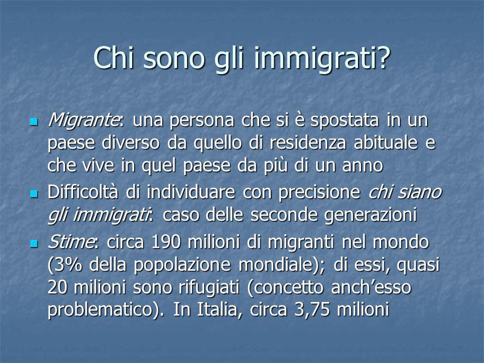 Chi sono gli immigrati? Migrante: una persona che si è spostata in un paese diverso da quello di residenza abituale e che vive in quel paese da più di