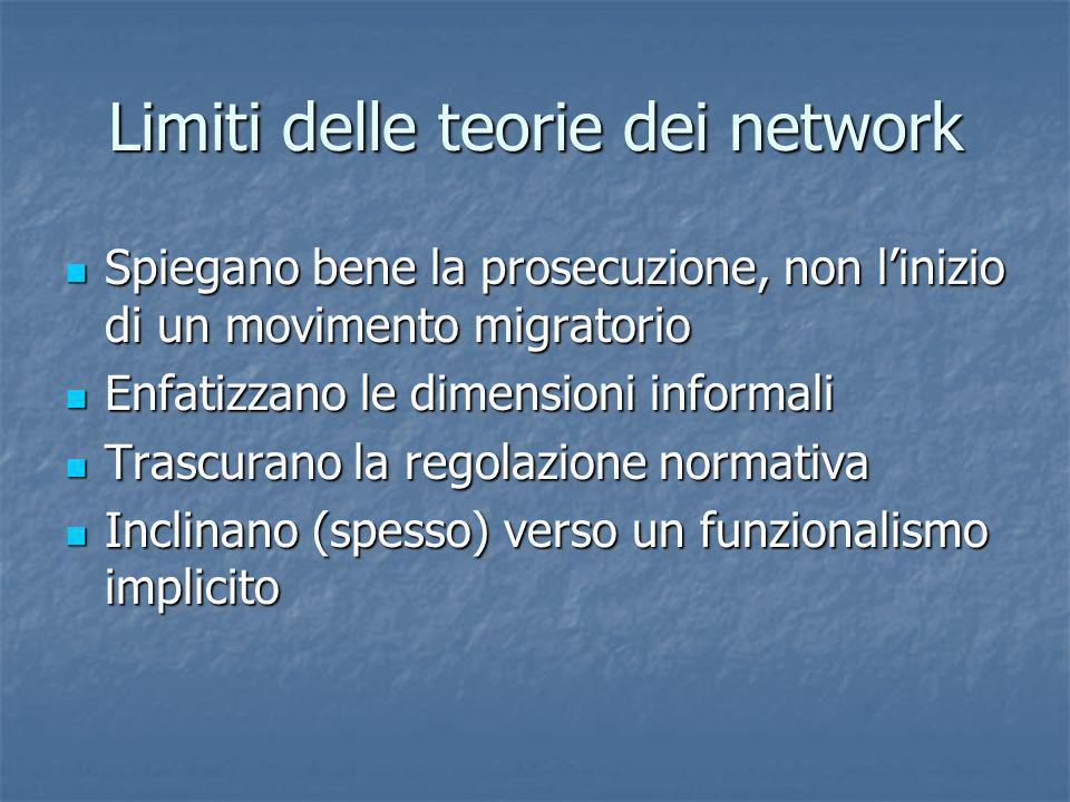 Limiti delle teorie dei network Spiegano bene la prosecuzione, non linizio di un movimento migratorio Spiegano bene la prosecuzione, non linizio di un