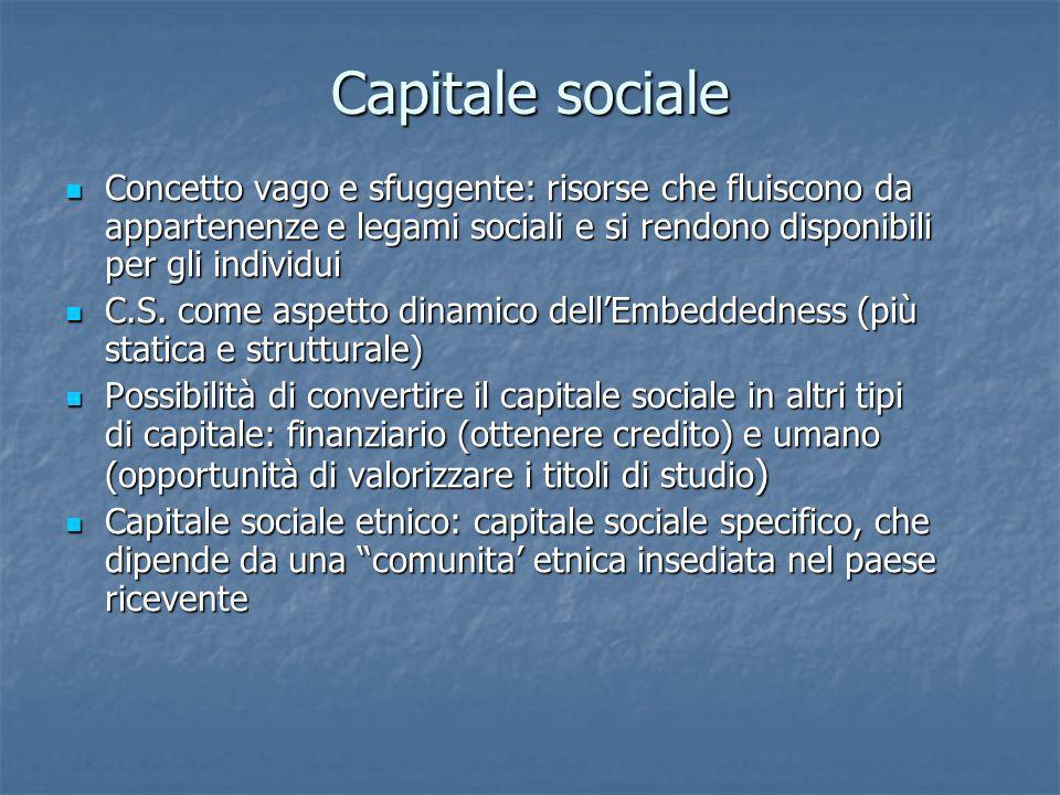 Capitale sociale Concetto vago e sfuggente: risorse che fluiscono da appartenenze e legami sociali e si rendono disponibili per gli individui Concetto