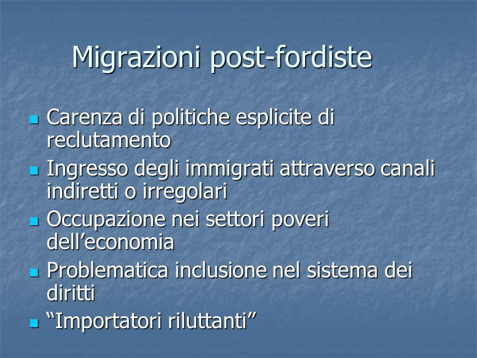 Migrazioni post-fordiste Carenza di politiche esplicite di reclutamento Carenza di politiche esplicite di reclutamento Ingresso degli immigrati attrav