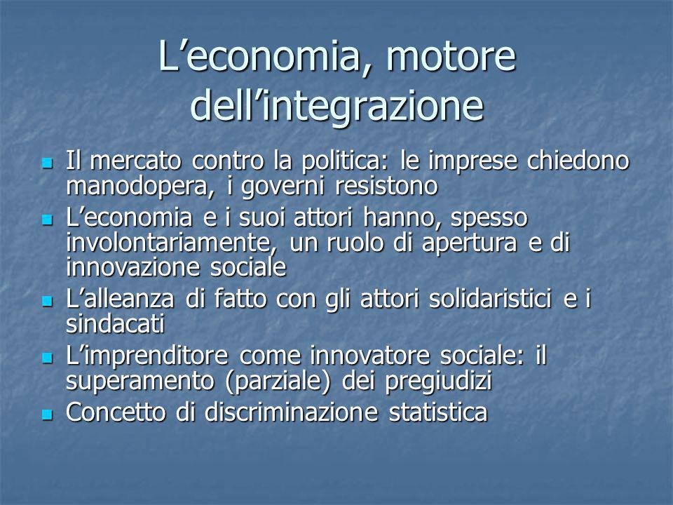 Leconomia, motore dellintegrazione Il mercato contro la politica: le imprese chiedono manodopera, i governi resistono Il mercato contro la politica: l