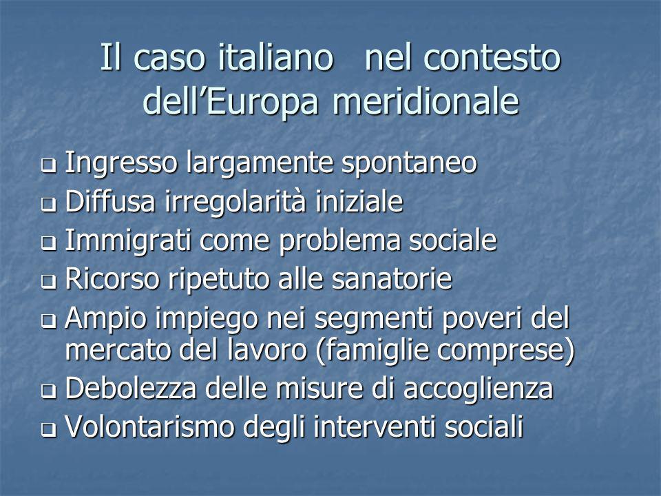Il caso italianonel contesto dellEuropa meridionale Ingresso largamente spontaneo Ingresso largamente spontaneo Diffusa irregolarità iniziale Diffusa