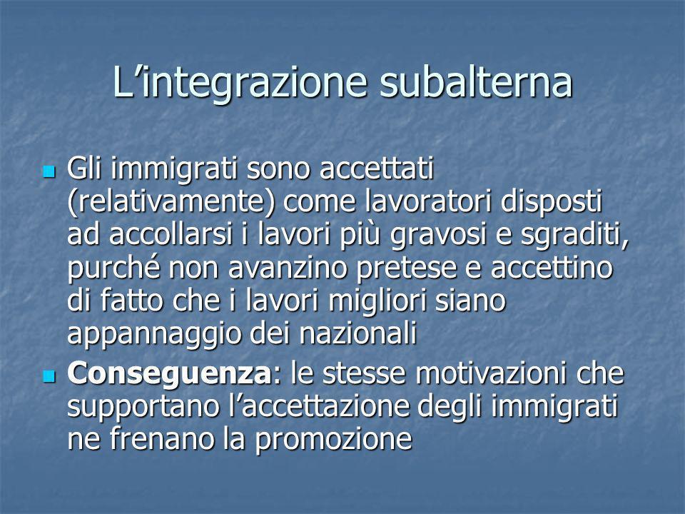 Lintegrazione subalterna Gli immigrati sono accettati (relativamente) come lavoratori disposti ad accollarsi i lavori più gravosi e sgraditi, purché n