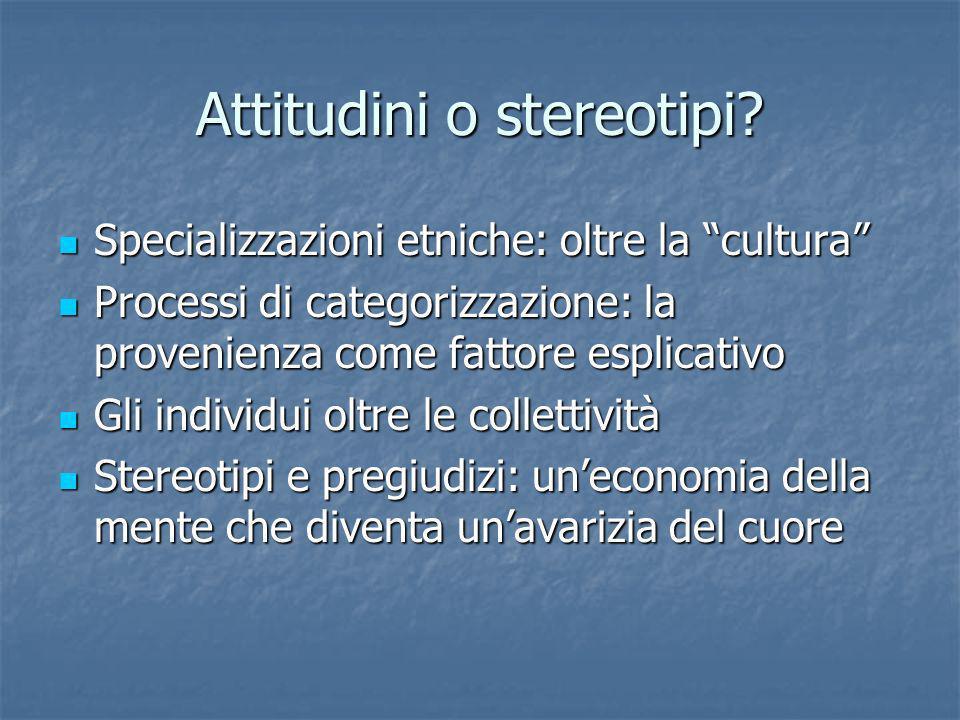 Attitudini o stereotipi? Specializzazioni etniche: oltre la cultura Specializzazioni etniche: oltre la cultura Processi di categorizzazione: la proven
