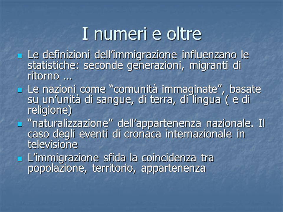 I numeri e oltre Le definizioni dellimmigrazione influenzano le statistiche: seconde generazioni, migranti di ritorno … Le definizioni dellimmigrazion