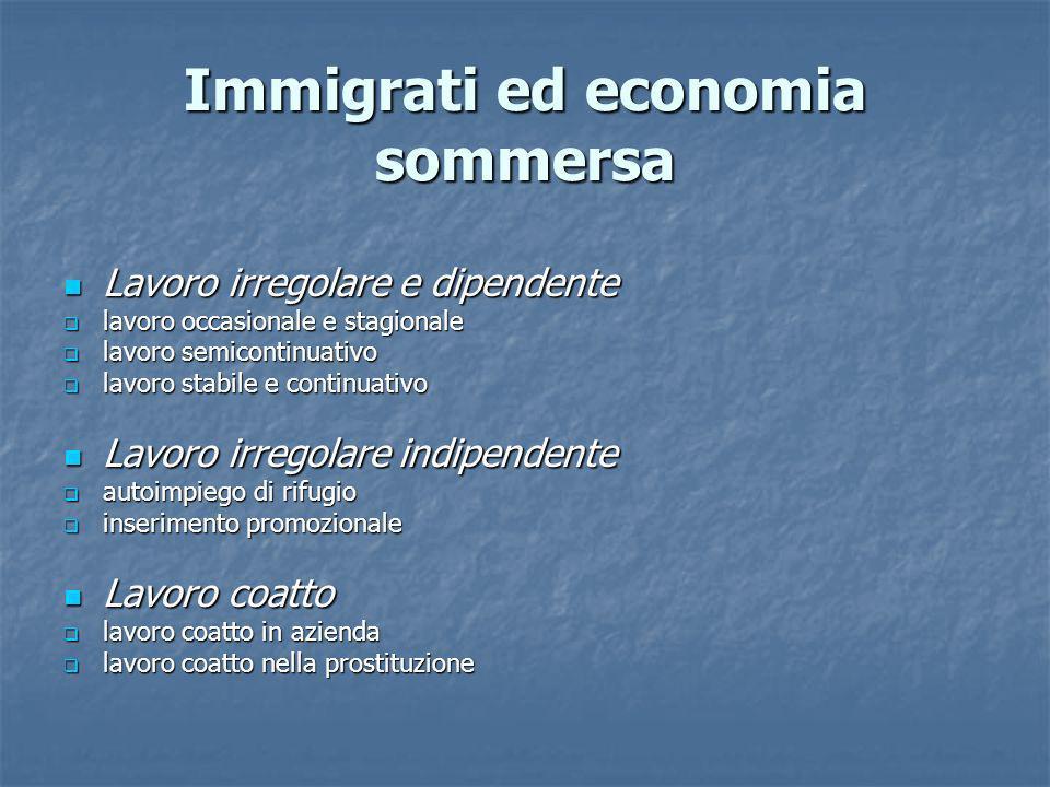 Immigrati ed economia sommersa Lavoro irregolare e dipendente Lavoro irregolare e dipendente lavoro occasionale e stagionale lavoro occasionale e stag