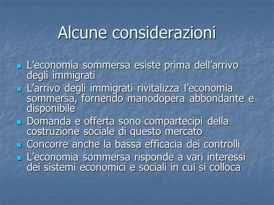 Alcune considerazioni Leconomia sommersa esiste prima dellarrivo degli immigrati Leconomia sommersa esiste prima dellarrivo degli immigrati Larrivo de