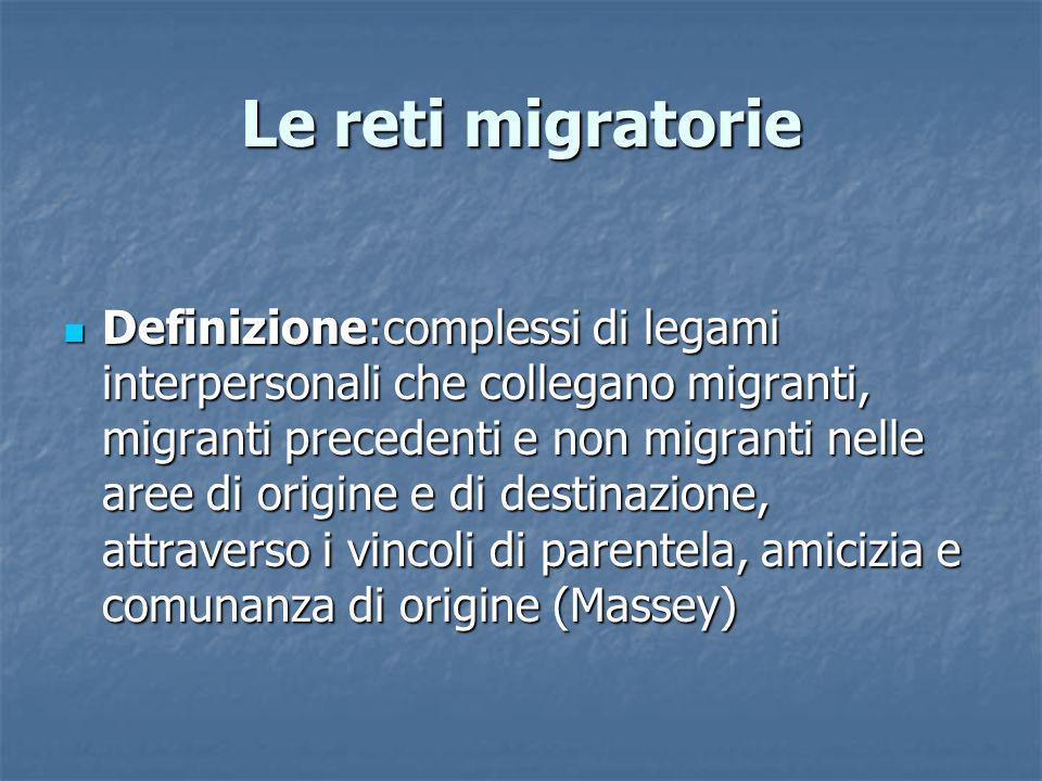 Le reti migratorie Definizione:complessi di legami interpersonali che collegano migranti, migranti precedenti e non migranti nelle aree di origine e d