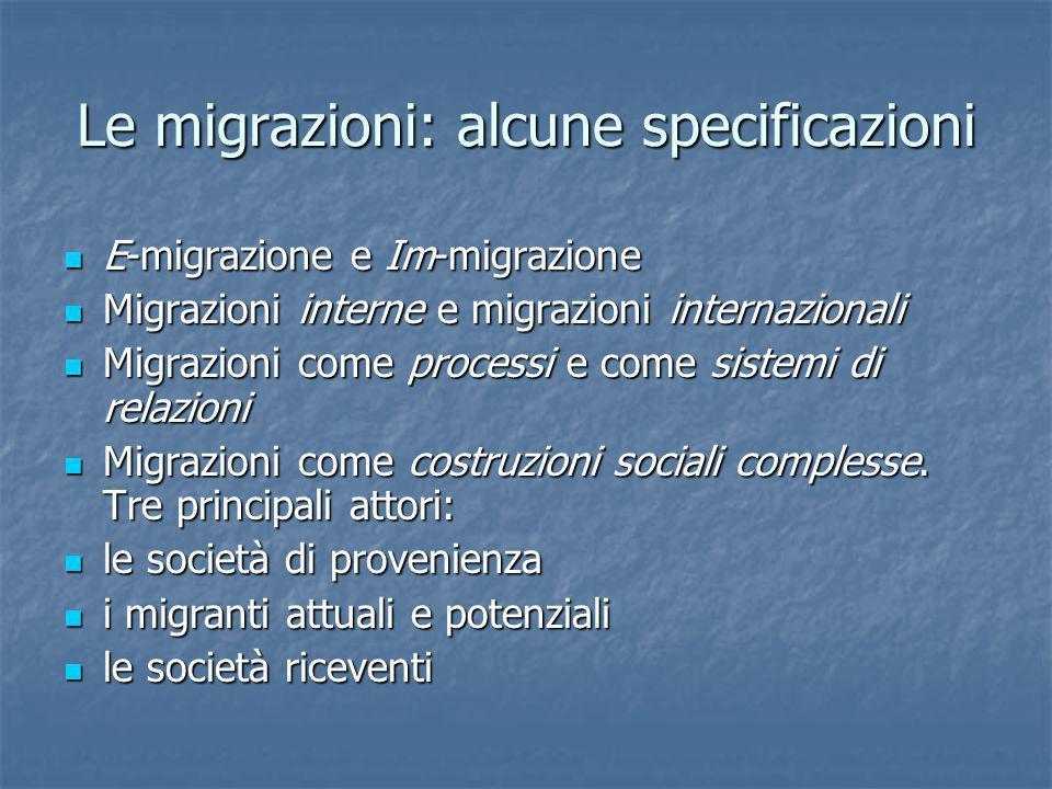 Le migrazioni: alcune specificazioni E-migrazione e Im-migrazione E-migrazione e Im-migrazione Migrazioni interne e migrazioni internazionali Migrazio