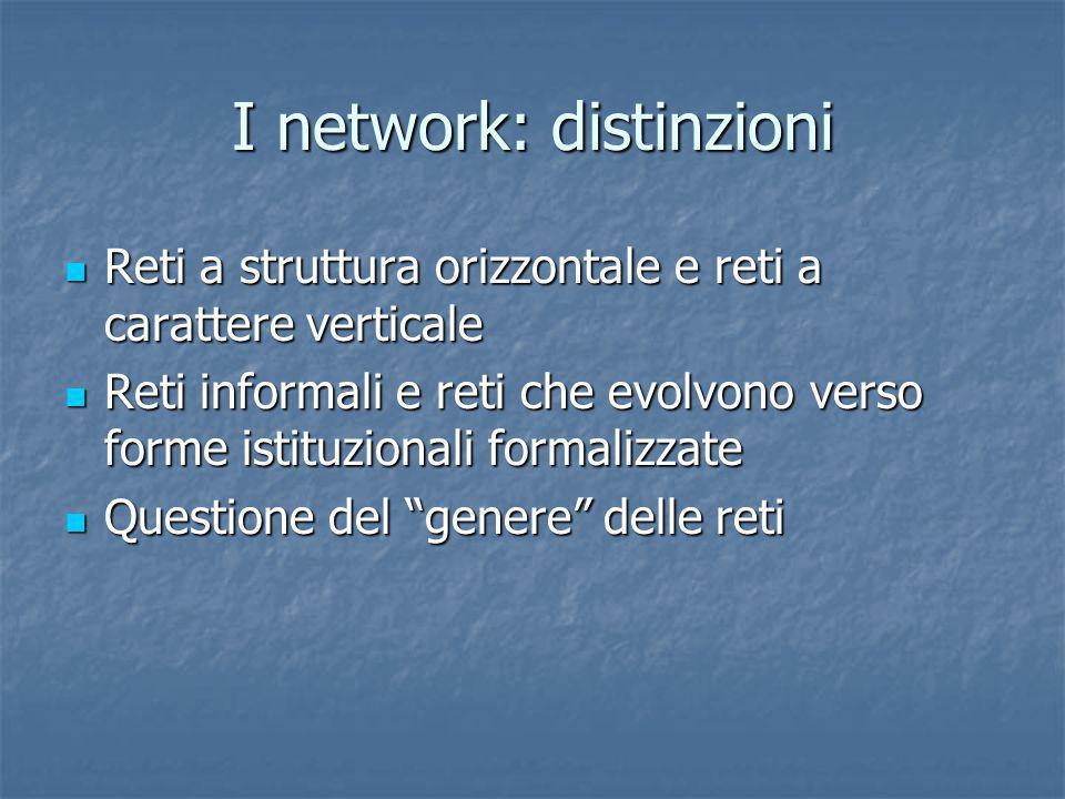 I network: distinzioni Reti a struttura orizzontale e reti a carattere verticale Reti a struttura orizzontale e reti a carattere verticale Reti inform