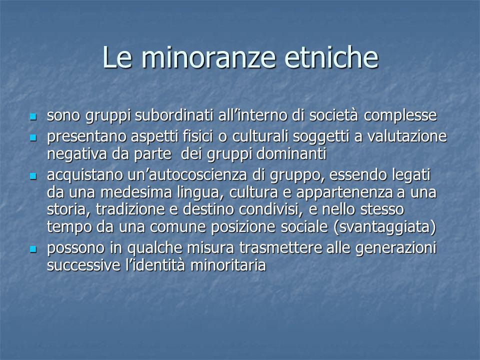 Le minoranze etniche sono gruppi subordinati allinterno di società complesse sono gruppi subordinati allinterno di società complesse presentano aspett