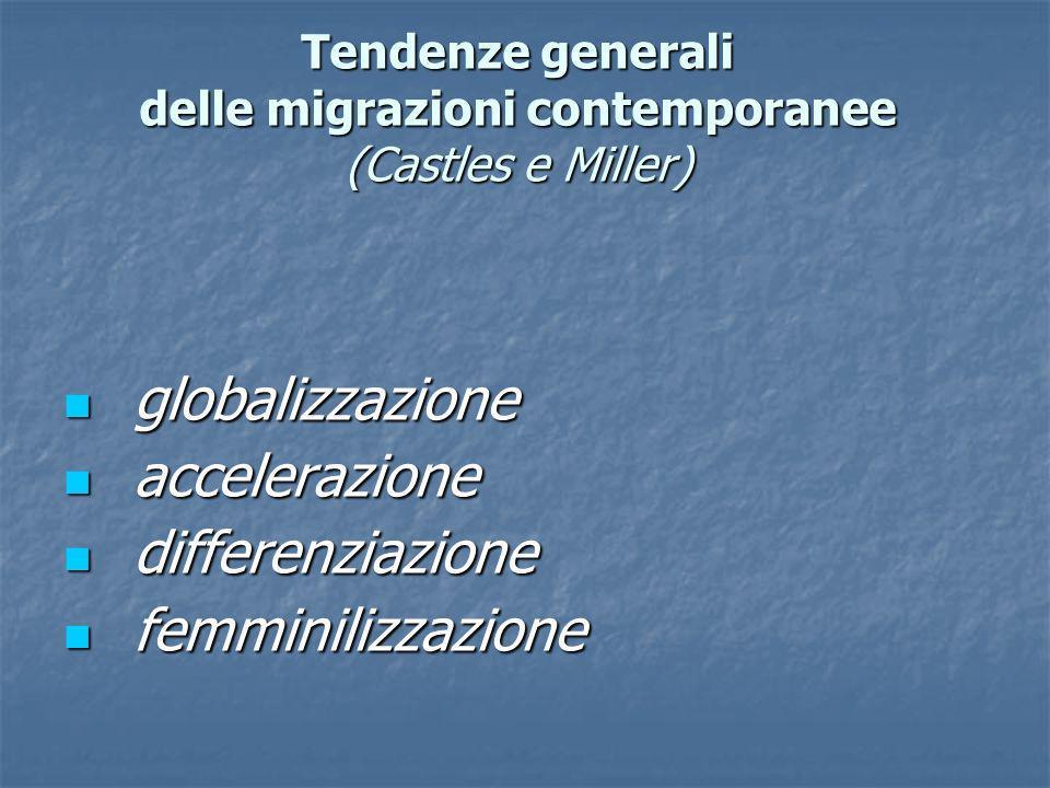 Tendenze generali delle migrazioni contemporanee (Castles e Miller) globalizzazione globalizzazione accelerazione accelerazione differenziazione diffe