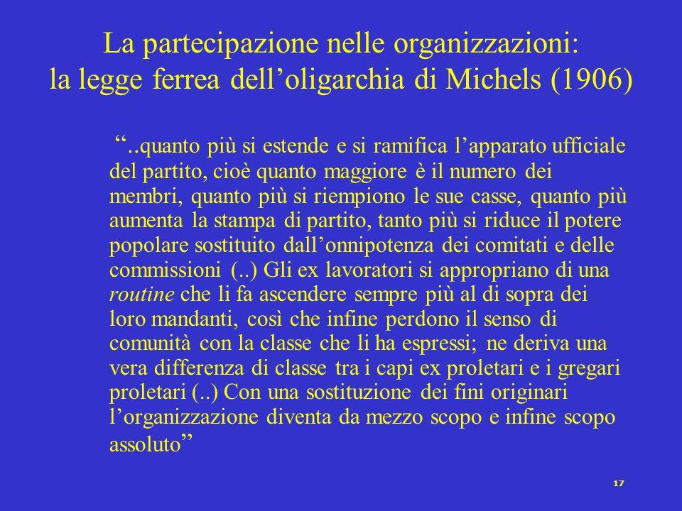 16 La partecipazione nelle organizzazioni: limportanza degli incentivi Una partecipazione sostenuta e costante allinterno delle organizzazioni politic