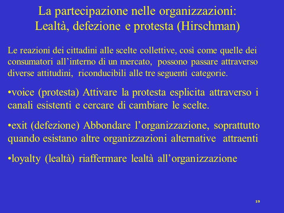 18 La partecipazione nelle organizzazioni: la legge ferrea delloligarchia di Michels In altri termini hanno luogo i seguenti fenomeni: 1.La formazione
