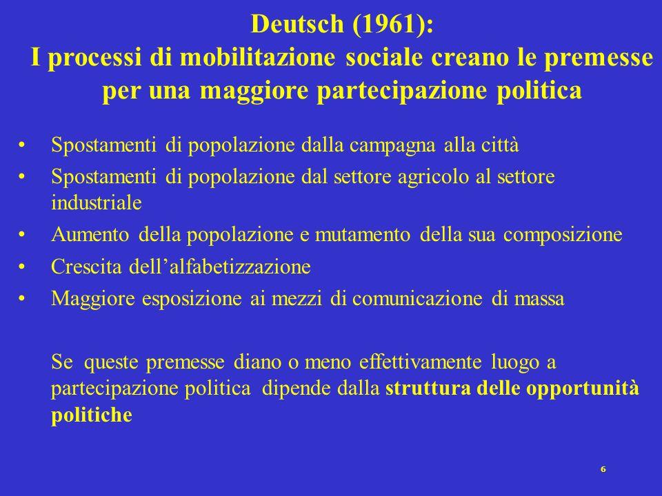 5 Processo di democratizzazione e sviluppo della partecipazione politica. Le 4 soglie di Rokkan Rokkan individua 4 soglie istituzionali superando le q