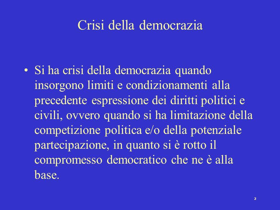 1 Democrazia e mutamenti Crisi della democrazia e crisi nella democrazia Cause e svolgimento della crisi Instaurazione democratica Consolidamento demo