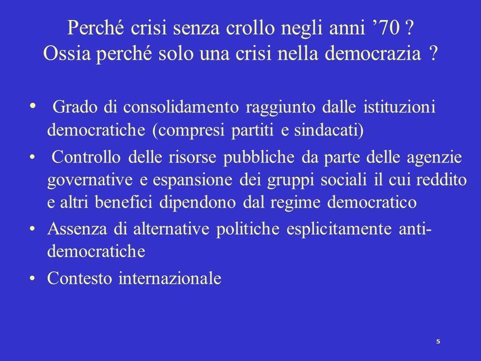 4 Schema generale della crisi democratica Crescita di – radicalizzazione –frammentazione e/o frazionalizzazione partitica, –partecipazione –instabilit