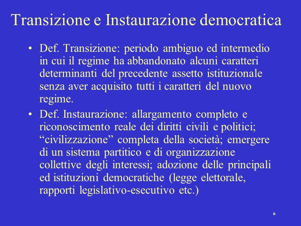 5 Perché crisi senza crollo negli anni 70 ? Ossia perché solo una crisi nella democrazia ? Grado di consolidamento raggiunto dalle istituzioni democra