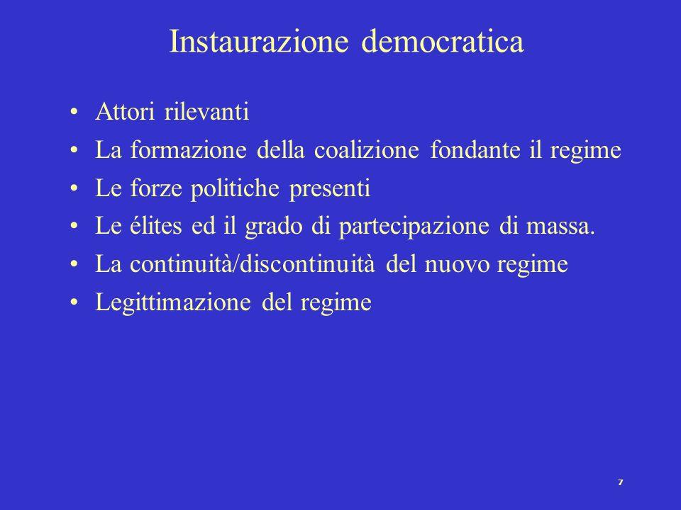 6 Transizione e Instaurazione democratica Def. Transizione: periodo ambiguo ed intermedio in cui il regime ha abbandonato alcuni caratteri determinant