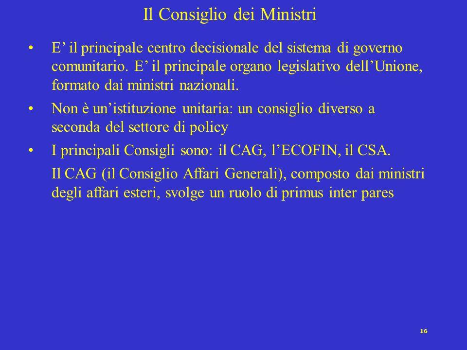 16 Il Consiglio dei Ministri E il principale centro decisionale del sistema di governo comunitario. E il principale organo legislativo dellUnione, for