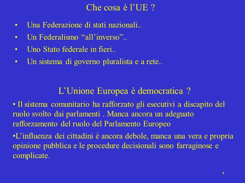 7 Che cosa è lUE ? Una Federazione di stati nazionali.. Un Federalismo allinverso.. Uno Stato federale in fieri.. Un sistema di governo pluralista e a