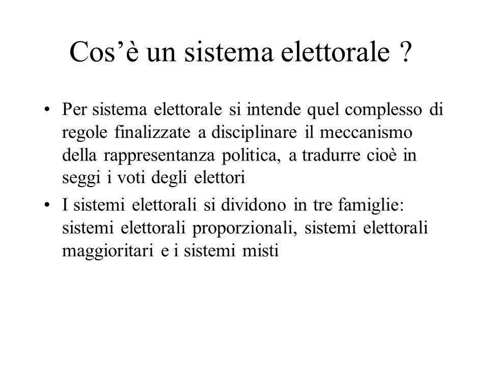Cosè un sistema elettorale ? Per sistema elettorale si intende quel complesso di regole finalizzate a disciplinare il meccanismo della rappresentanza