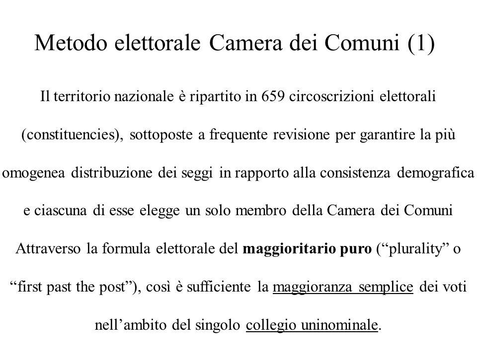 Metodo elettorale Camera dei Comuni (1) Il territorio nazionale è ripartito in 659 circoscrizioni elettorali (constituencies), sottoposte a frequente