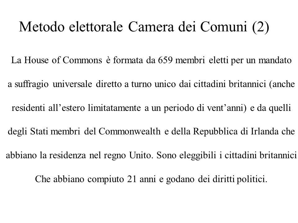Metodo elettorale Camera dei Comuni (2) La House of Commons è formata da 659 membri eletti per un mandato a suffragio universale diretto a turno unico