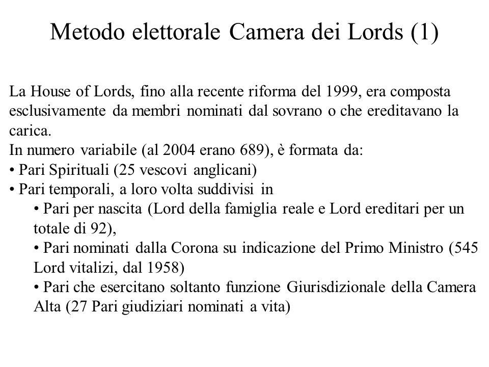 Metodo elettorale Camera dei Lords (1) La House of Lords, fino alla recente riforma del 1999, era composta esclusivamente da membri nominati dal sovra