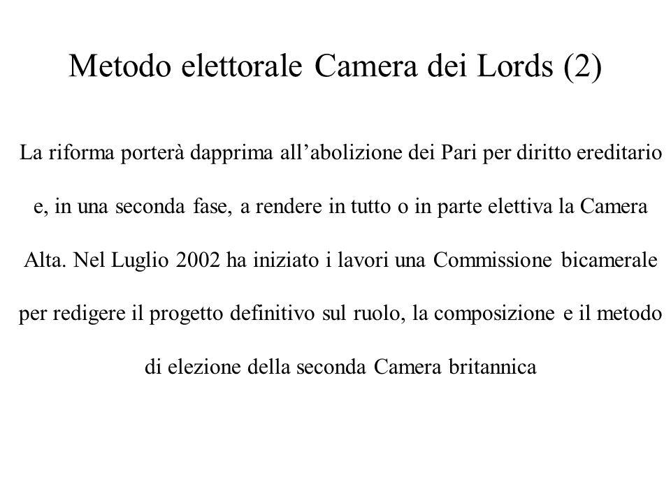 Metodo elettorale Camera dei Lords (2) La riforma porterà dapprima allabolizione dei Pari per diritto ereditario e, in una seconda fase, a rendere in