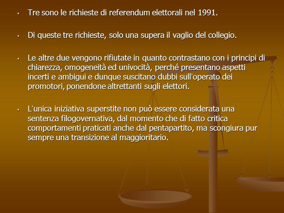 Tre sono le richieste di referendum elettorali nel 1991.