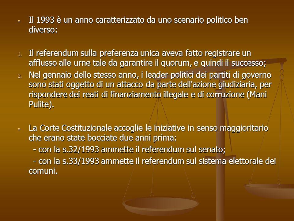Il 1993 è un anno caratterizzato da uno scenario politico ben diverso: Il 1993 è un anno caratterizzato da uno scenario politico ben diverso: 1.