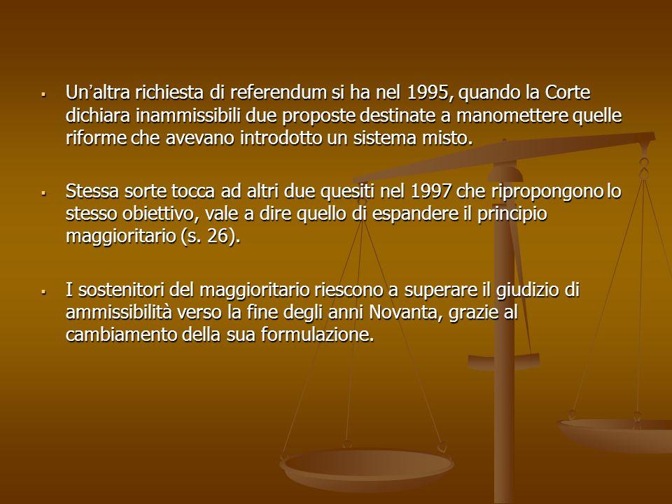 Unaltra richiesta di referendum si ha nel 1995, quando la Corte dichiara inammissibili due proposte destinate a manomettere quelle riforme che avevano introdotto un sistema misto.