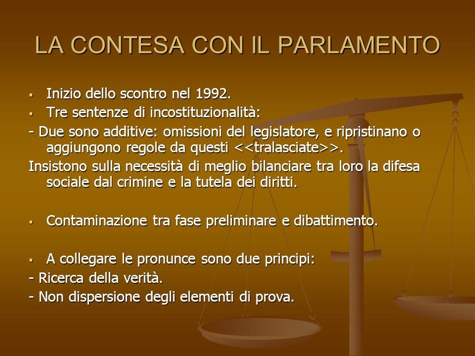 LA CONTESA CON IL PARLAMENTO Inizio dello scontro nel 1992.