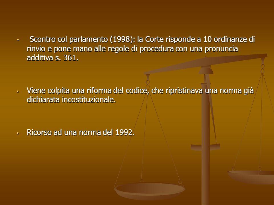 Scontro col parlamento (1998): la Corte risponde a 10 ordinanze di rinvio e pone mano alle regole di procedura con una pronuncia additiva s.