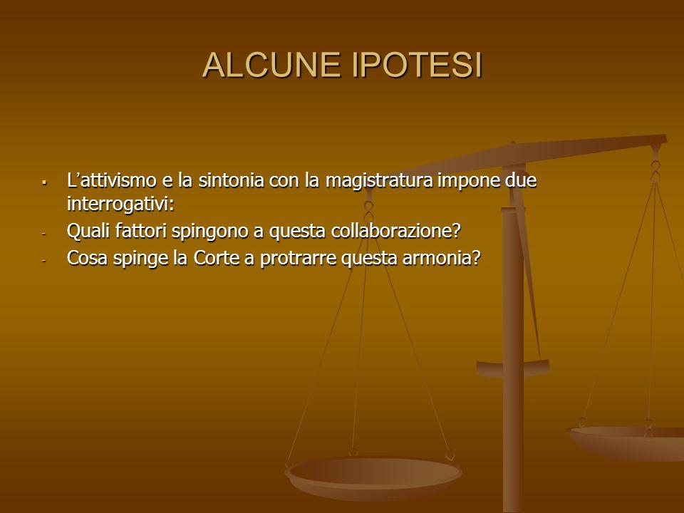 ALCUNE IPOTESI Lattivismo e la sintonia con la magistratura impone due interrogativi: Lattivismo e la sintonia con la magistratura impone due interrogativi: - Quali fattori spingono a questa collaborazione.