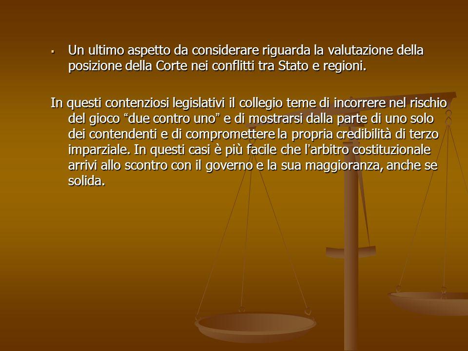Un ultimo aspetto da considerare riguarda la valutazione della posizione della Corte nei conflitti tra Stato e regioni. Un ultimo aspetto da considera