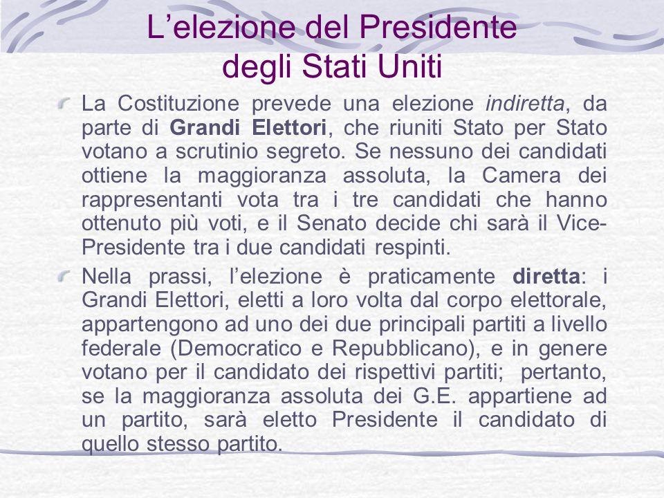 Lelezione del Presidente degli Stati Uniti La Costituzione prevede una elezione indiretta, da parte di Grandi Elettori, che riuniti Stato per Stato votano a scrutinio segreto.