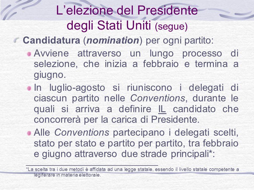 Lelezione del Presidente degli Stati Uniti (segue) Candidatura (nomination) per ogni partito: Avviene attraverso un lungo processo di selezione, che inizia a febbraio e termina a giugno.