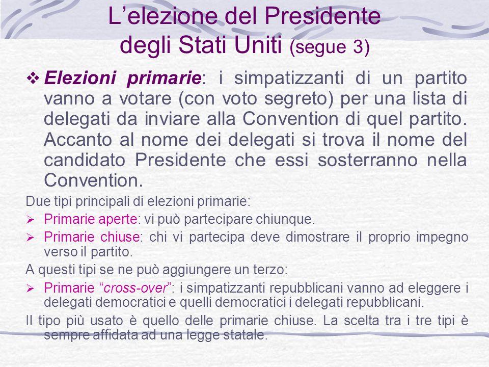 Lelezione del Presidente degli Stati Uniti (segue 3) Elezioni primarie: i simpatizzanti di un partito vanno a votare (con voto segreto) per una lista di delegati da inviare alla Convention di quel partito.