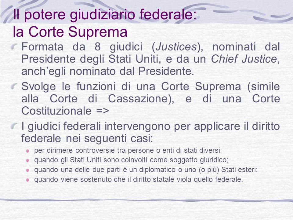 Il potere giudiziario federale: la Corte Suprema Formata da 8 giudici (Justices), nominati dal Presidente degli Stati Uniti, e da un Chief Justice, anchegli nominato dal Presidente.