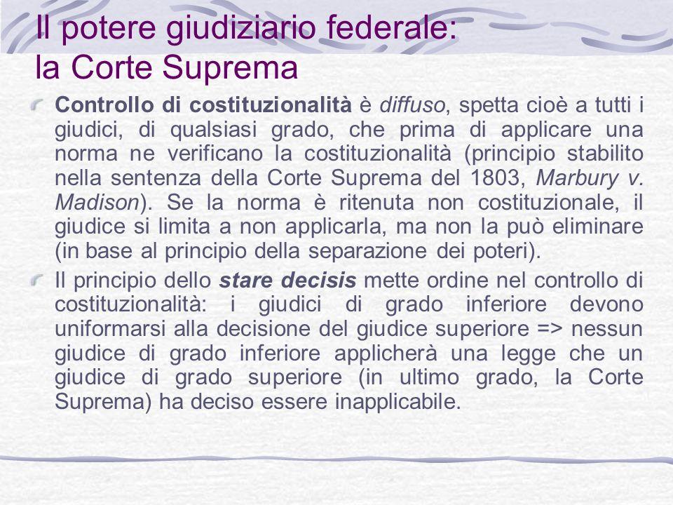 Il potere giudiziario federale: la Corte Suprema Controllo di costituzionalità è diffuso, spetta cioè a tutti i giudici, di qualsiasi grado, che prima di applicare una norma ne verificano la costituzionalità (principio stabilito nella sentenza della Corte Suprema del 1803, Marbury v.