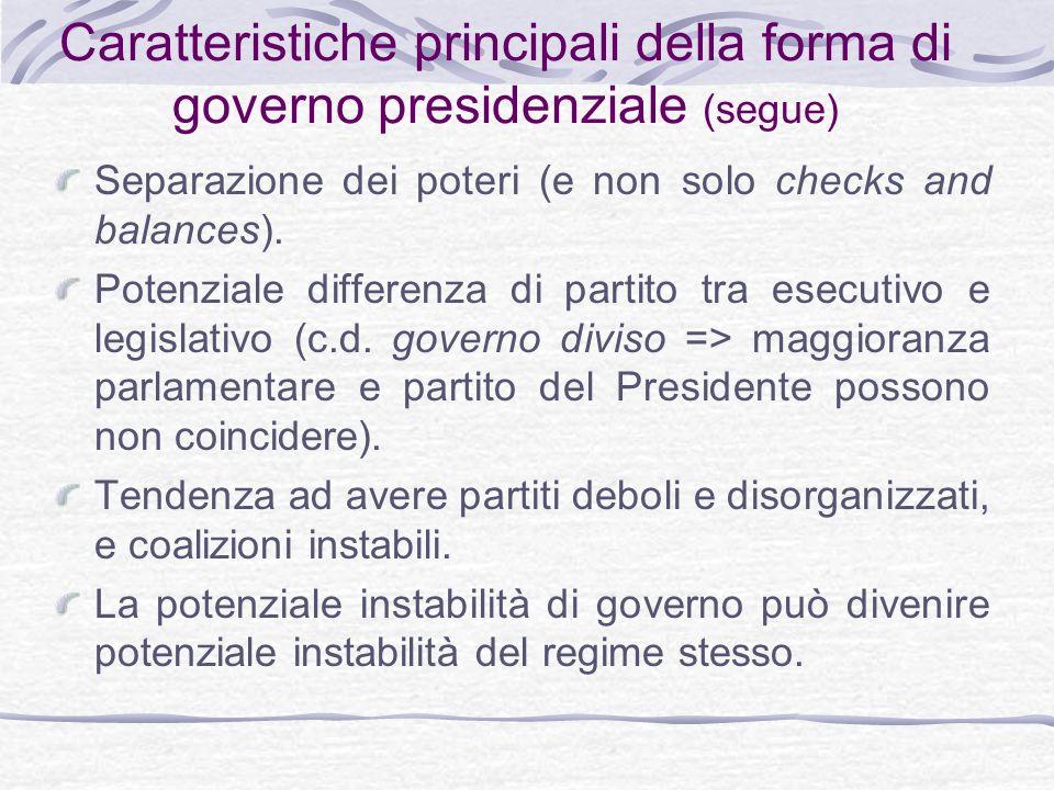 Caratteristiche principali della forma di governo presidenziale (segue) Separazione dei poteri (e non solo checks and balances).