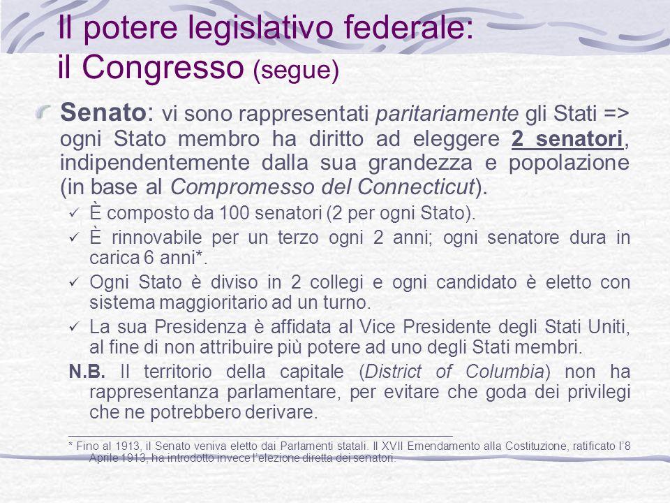 Il potere legislativo federale: il Congresso (segue) Senato: vi sono rappresentati paritariamente gli Stati => ogni Stato membro ha diritto ad eleggere 2 senatori, indipendentemente dalla sua grandezza e popolazione (in base al Compromesso del Connecticut).