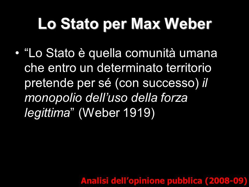 Lo Stato per Max Weber Analisi dellopinione pubblica (2008-09) Lo Stato è quella comunità umana che entro un determinato territorio pretende per sé (c